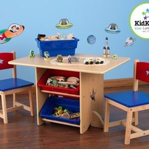 Star Table & 2 Chair Set with Primary Bins